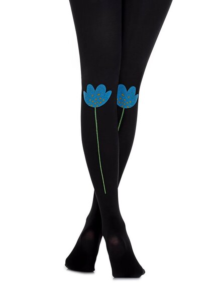 Zohara - Art on tights Blue Flowers 100 den sukkpüksid (R661-BMC)